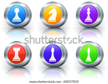 Chess Icons on Reflective Button with Metallic Rim Collection Original Illustration - stock photo