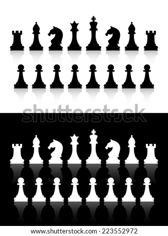 chess icons silhouettes on white and black background