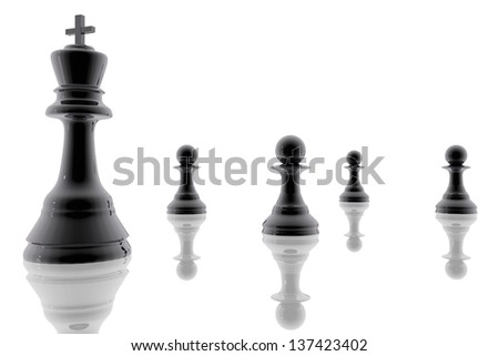 Chess king and pawns - stock photo