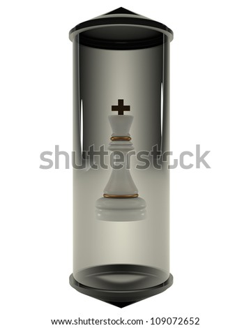 Chess King closed in a glass flask on a white background 3d - stock photo