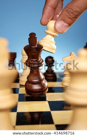 Chess king is checkmated - stock photo