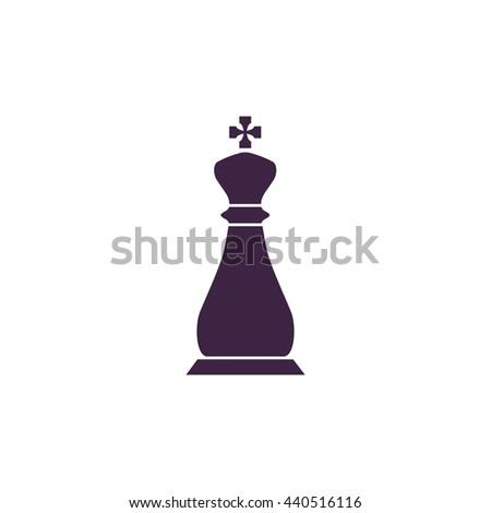 Chess king. Simple blue icon on white background - stock photo