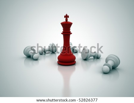 Chess king standing - game over - stock photo