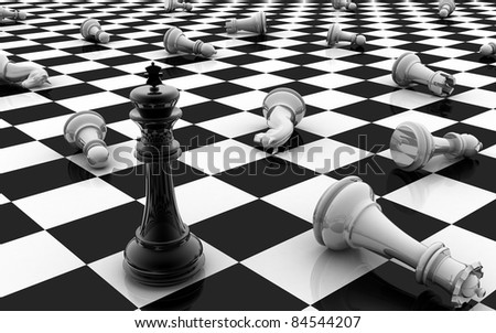 Chess king standing  game over - stock photo