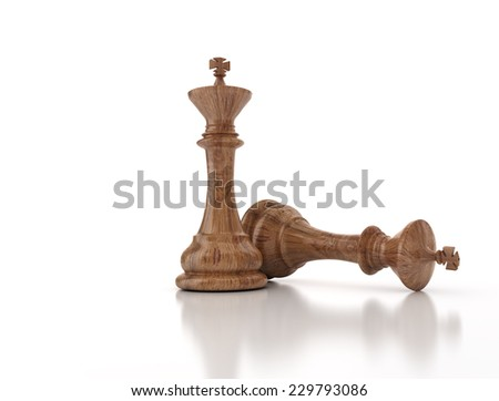 Chess king standing game over. Wood texture isolated on white background  - stock photo