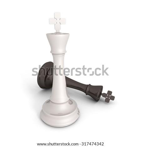 Chess Kings Success Winning Concept. 3d Render Illustration - stock photo