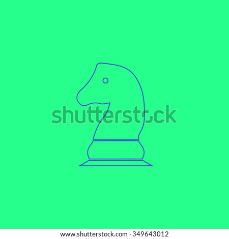 Chess knight. Simple outline illustration icon on green background