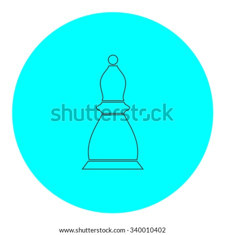 Chess officer. Black outline flat symbol on blue circle. Simple illustration pictograh on white background - stock photo