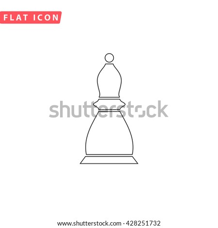 Chess officer. Black outline simple pictogram on white. Line icon - stock photo