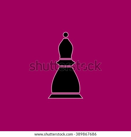 Chess officer. Black simple flat icon with white stroke - stock photo