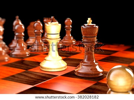 Chess on a board on a black background