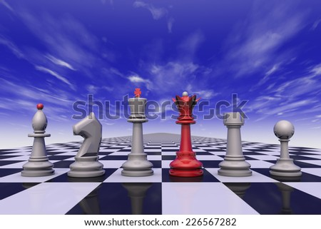 Chess on the background of the dramatic sky. 3D-image.  - stock photo