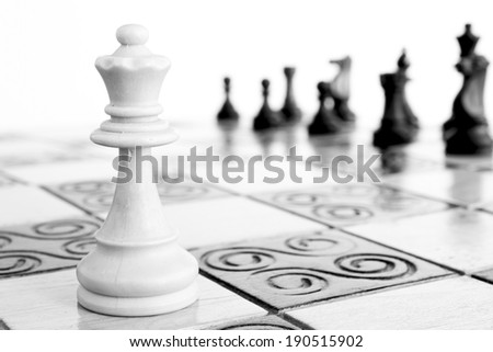 Chess on the chessboard - stock photo