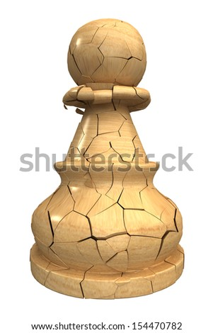 Chess Pawn, broken. Isolated. white background. 3d - stock photo