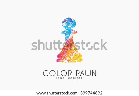 Chess pawn. Color pawn logo. Chess logo. Creative logo. - stock photo