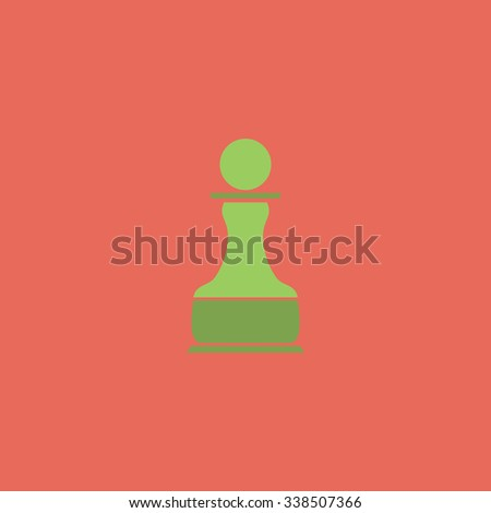 Chess Pawn. Colored simple icon. Flat retro color modern illustration symbol - stock photo