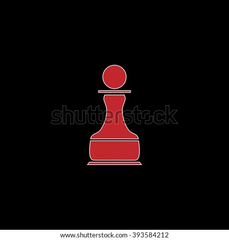 Chess Pawn. flat symbol pictogram on black background. red simple icon with white stroke - stock photo