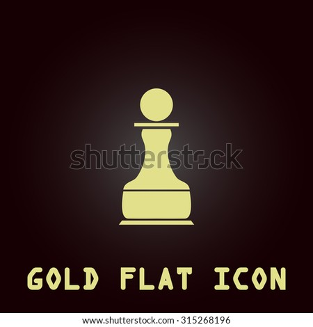 Chess Pawn. Gold flat icon. Symbol for web and mobile applications for use as logo, pictogram, infographic element - stock photo