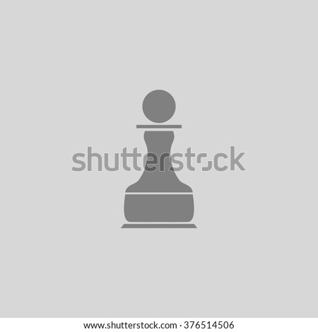 Chess Pawn. Grey simple flat icon - stock photo