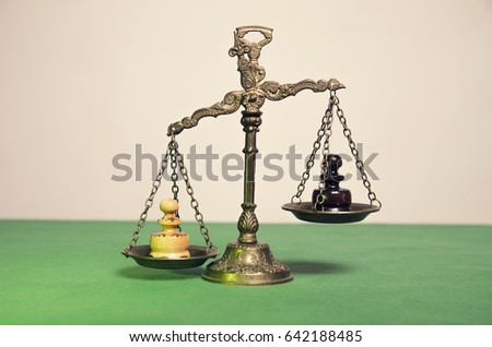 Concept Bad chess pawn on justice scale business stock photo 642188485
