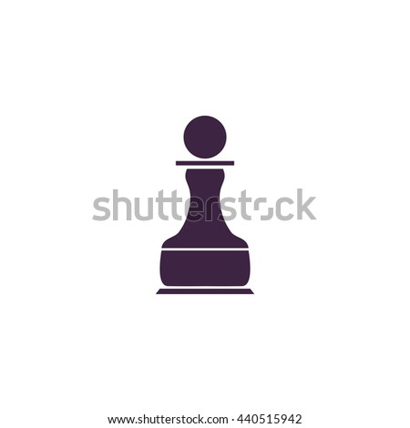 Chess Pawn. Simple blue icon on white background - stock photo