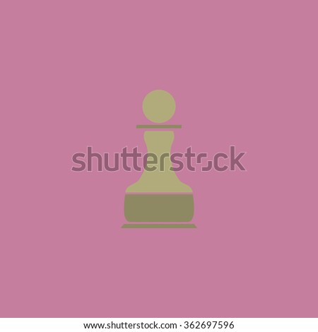 Chess Pawn. Simple flat color icon on colorful background - stock photo