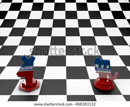 Chess pawn, U.S.A. elections, chessboard. 3d rendering