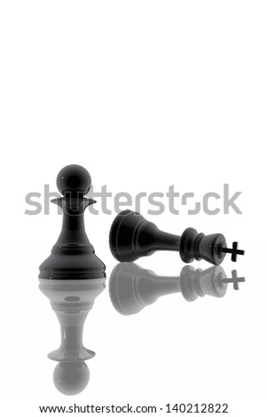Chess pawn victory over the king - stock photo