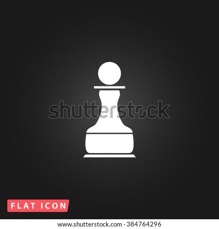 Chess Pawn White flat icon on dark background. Simple illustration pictogram - stock photo
