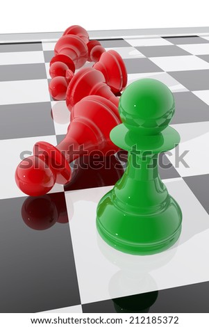 Chess pawn winner - stock photo