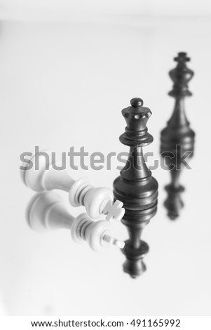Chess photographed on a mirror