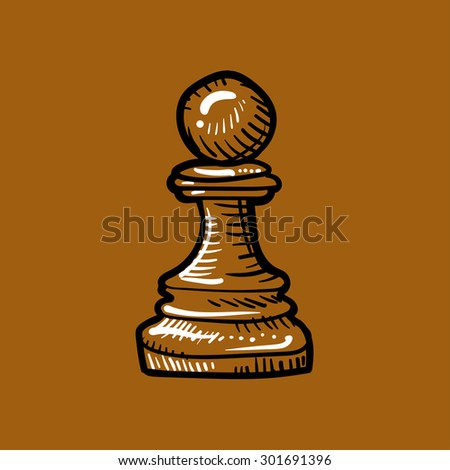 chess piece, pawn brown on a brown background, doodle - stock photo