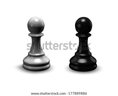 chess pieces black and white isolated shiny pawns - stock photo