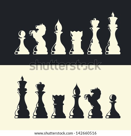 Chess pieces collection. Raster version, vector file available in portfolio. - stock photo