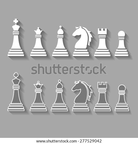 chess pieces including king, queen, rook, pawn knight, and bishop   icons,  set  - stock photo