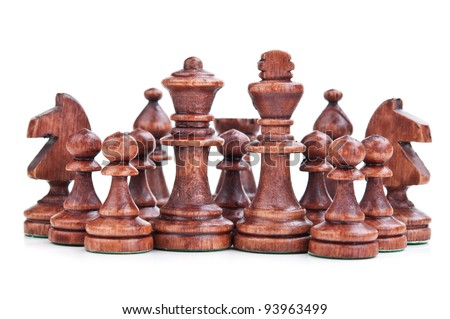 chess pieces isolated on a white background - stock photo