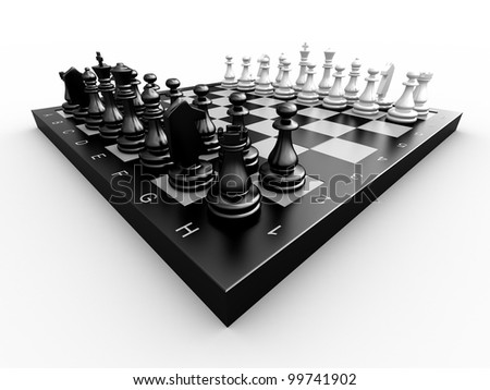 Chess pieces on a board on a white background - stock photo
