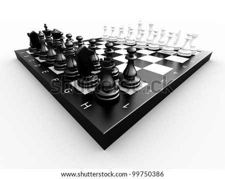 Chess pieces on a board on a white background
