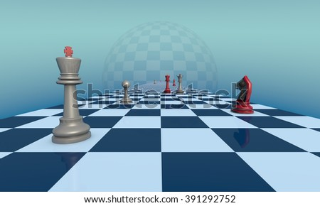 Chess pieces on a fantastic turquoise background. Lyrical scene.  3d illustration. Available in high-resolution and several sizes to fit the needs of your project.  - stock photo