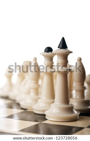 chess pieces on isolated on white