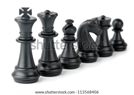 Chess pieces on white background - stock photo