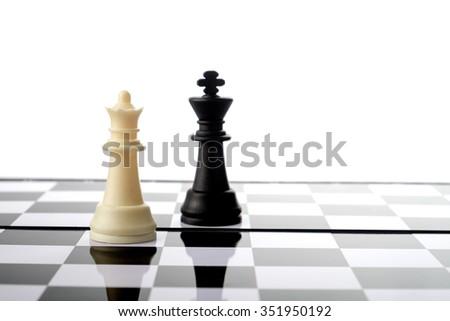 Chess pieces, queen and king. Strategy and competition conceptual. - stock photo