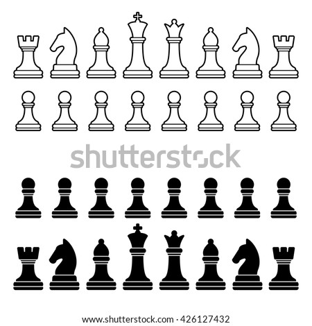 Chess Pieces Silhouette - Black and White Set. illustration - stock photo