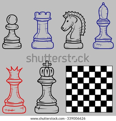 chess pieces with a chessboard isolated on a gray background. Doodle