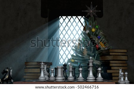 Chess, placed in front of a medieval window at the Christmas tree 3D illustration