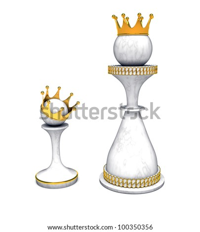 chess queen and pawn with gold crown - stock photo