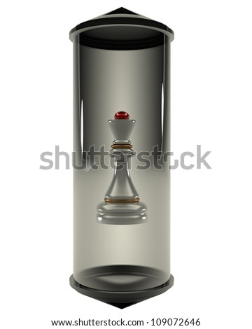 Chess Queen closed in a glass flask on a white background 3d - stock photo