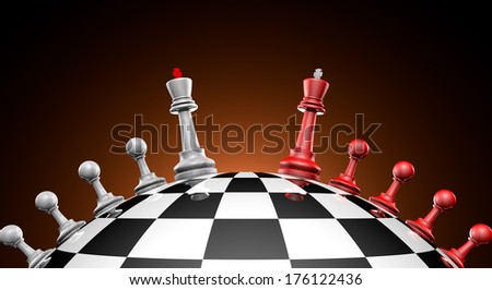 Chess red and gray on the chess field (symbol-political dialogue)  - stock photo