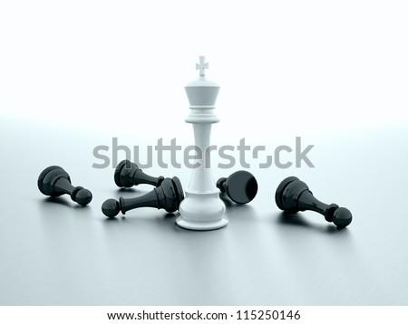 Chess rendered one win - stock photo