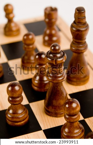 Chess set - close-up of black queen - stock photo